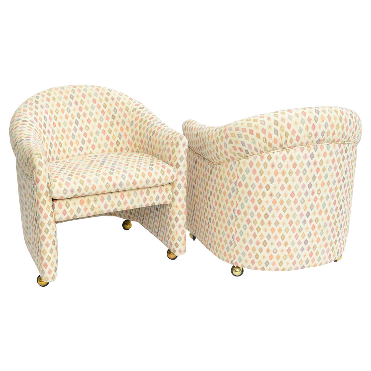 Pair of Ward Bennett Style Modern Tub Lounge Chairs on Castors