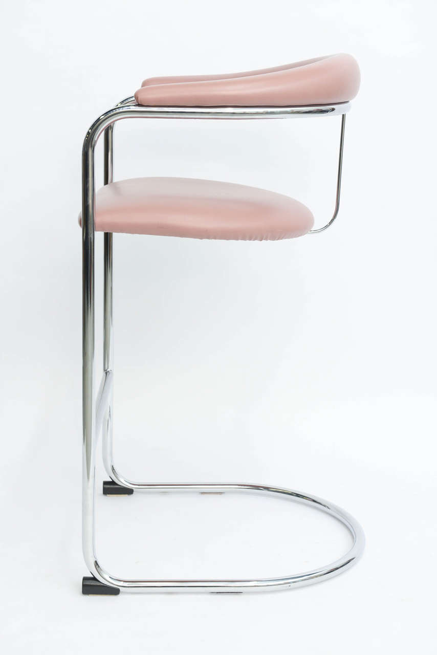 Bauhaus sleek anton lorenz chrome bar stools for thonet for sale