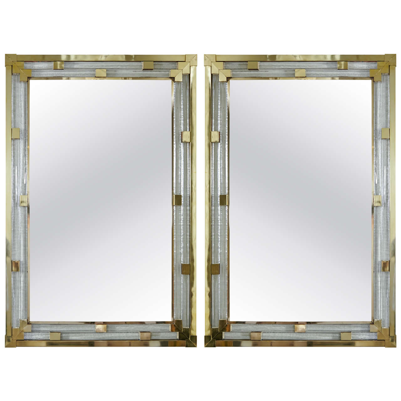 Pair of Italian Art Deco Style Mirrors in Molded Glass and Polished Brass