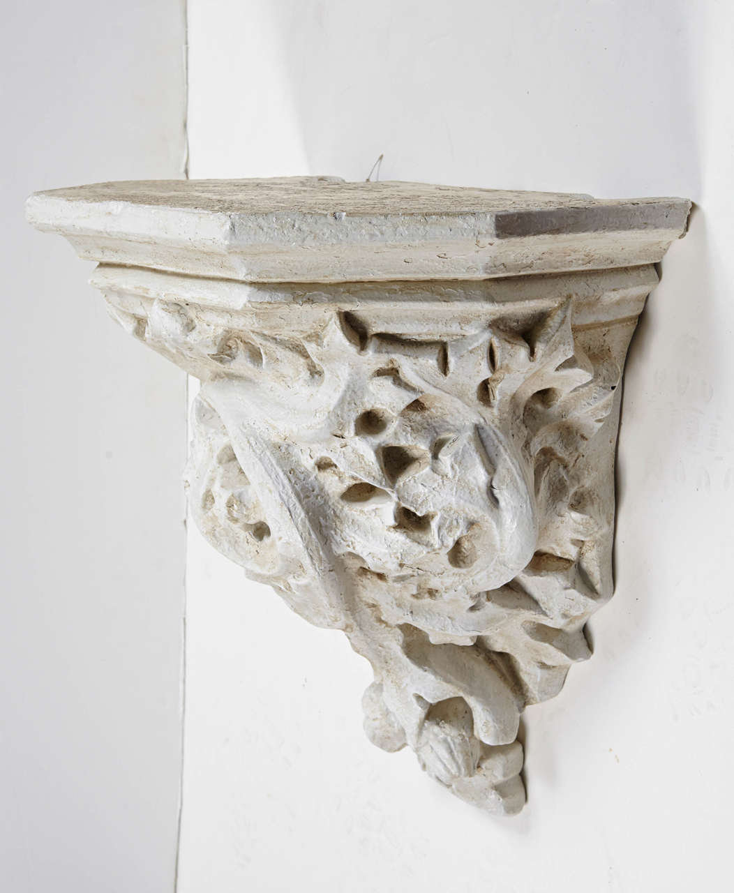 Rococo style cast wall console / bracket with carvings of oak leaves and acorns.