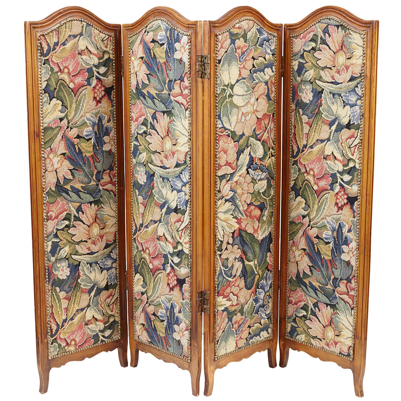 Small French Folding Screen With Floral Tapestry For Sale