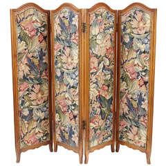 Small French Folding Screen With Floral Tapestry