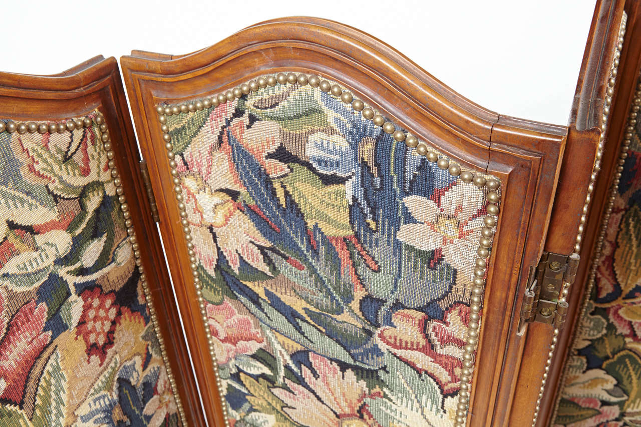 Louis XV Small French Folding Screen With Floral Tapestry For Sale