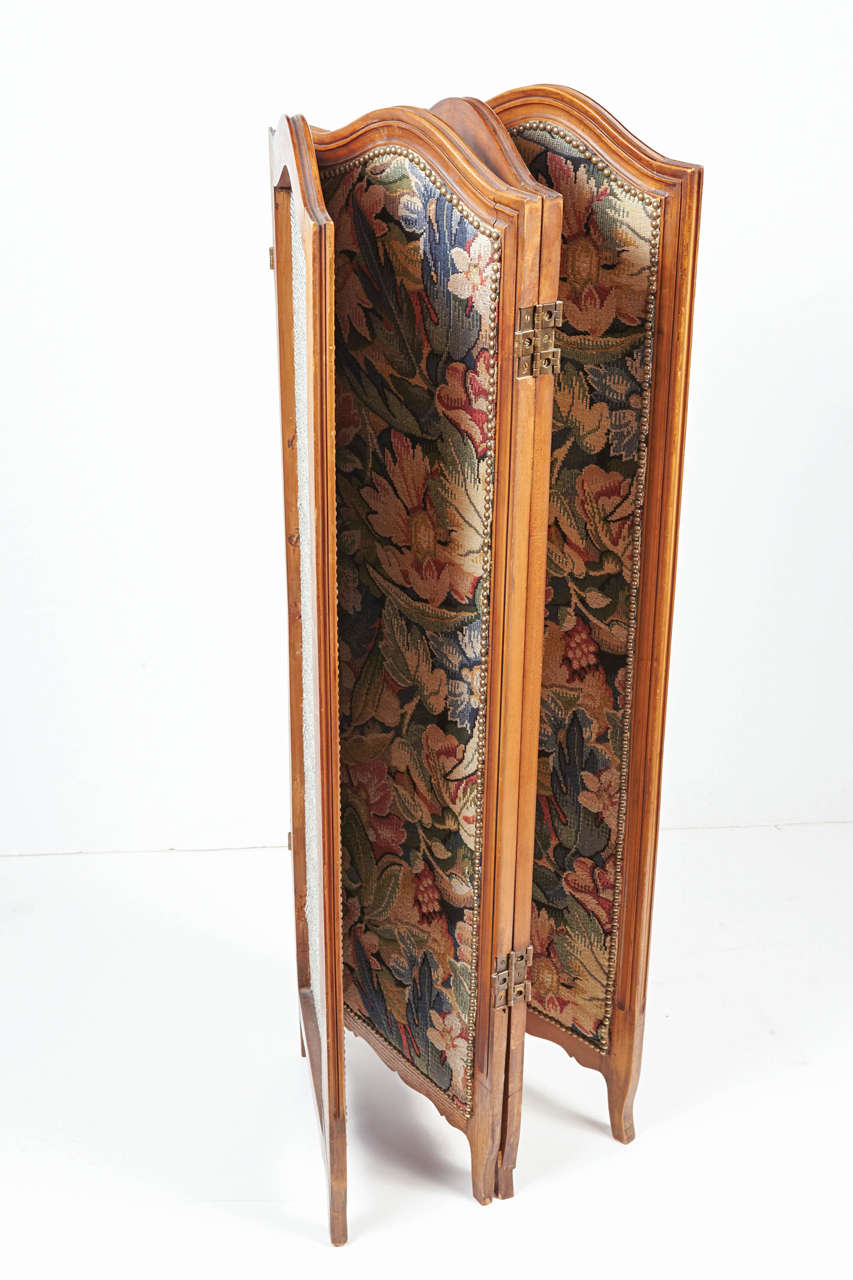 20th Century Small French Folding Screen With Floral Tapestry For Sale