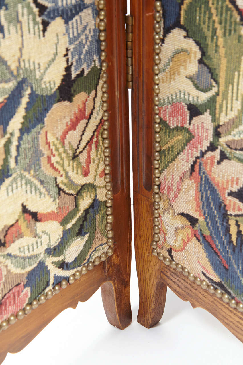Small French Folding Screen With Floral Tapestry For Sale 2