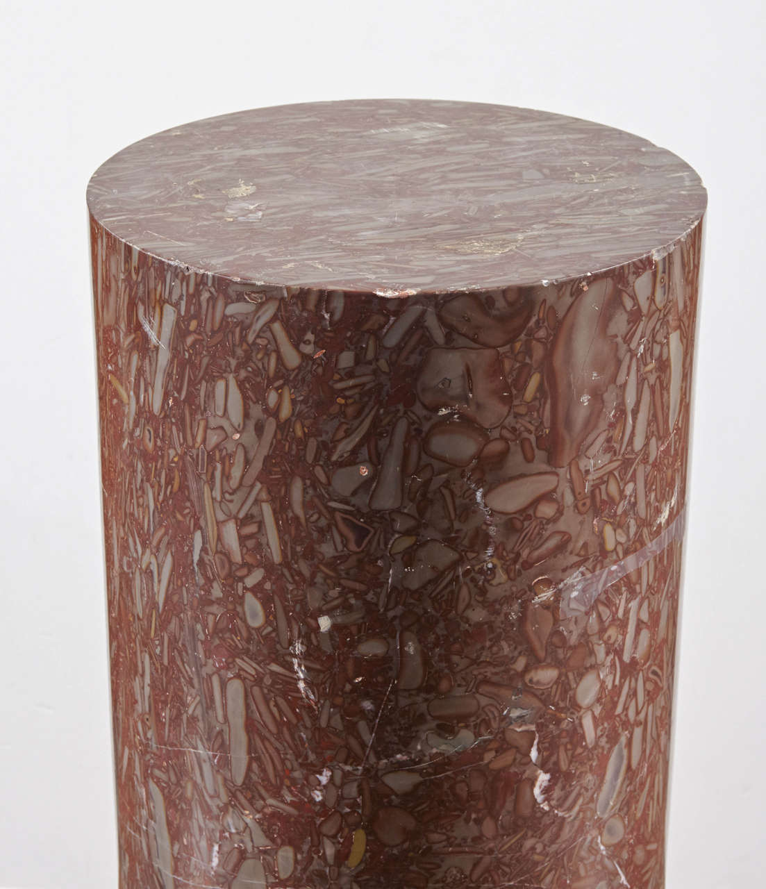 European Marble Column Pedestals on Marble Bases For Sale