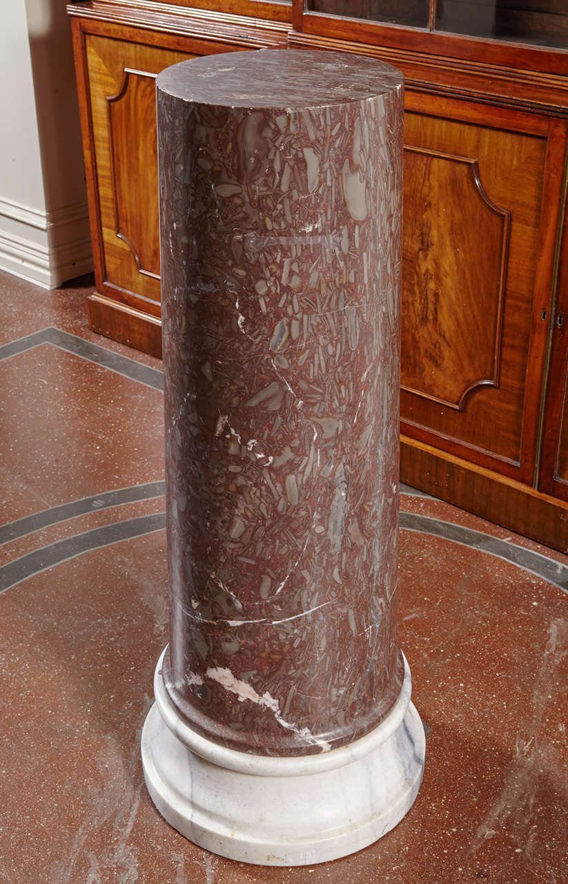 Marble Column Pedestals on Marble Bases For Sale 1