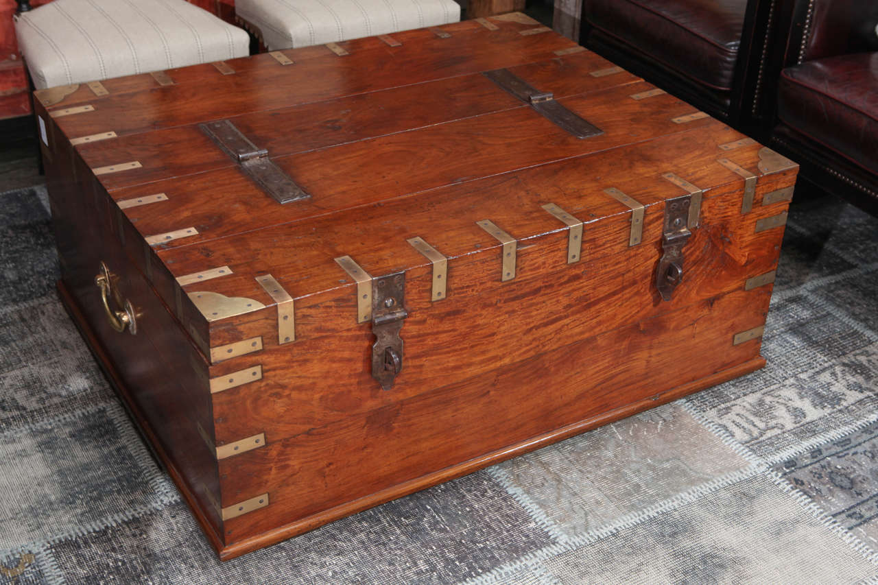 19th Century Campaign Trunk as Coffee Table 2 - 19th Century Campaign Trunk As Coffee Table At 1stdibs