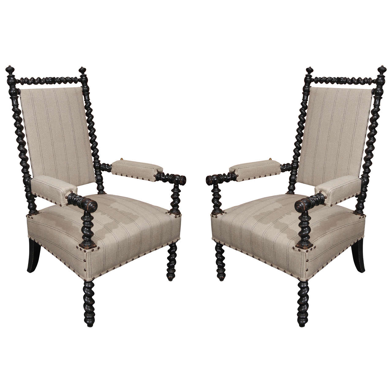 pair of 19th century ebonized bobbin chairs with arms at 1stdibs