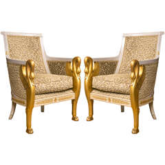 Pair of Period French Empire Bergeres