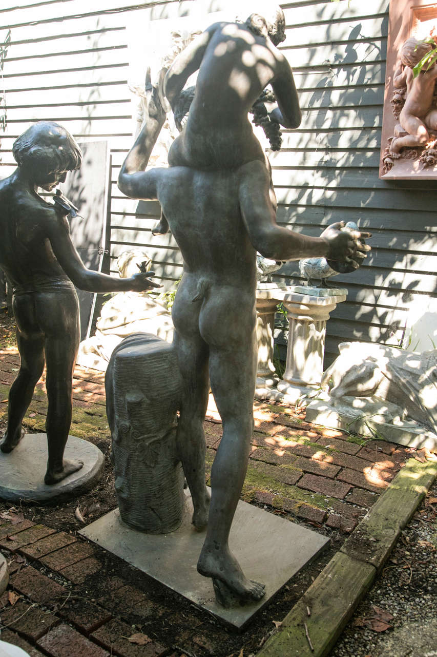 Life-Size Bronze of a Nude Bacchus In Excellent Condition For Sale In Woodbury, CT
