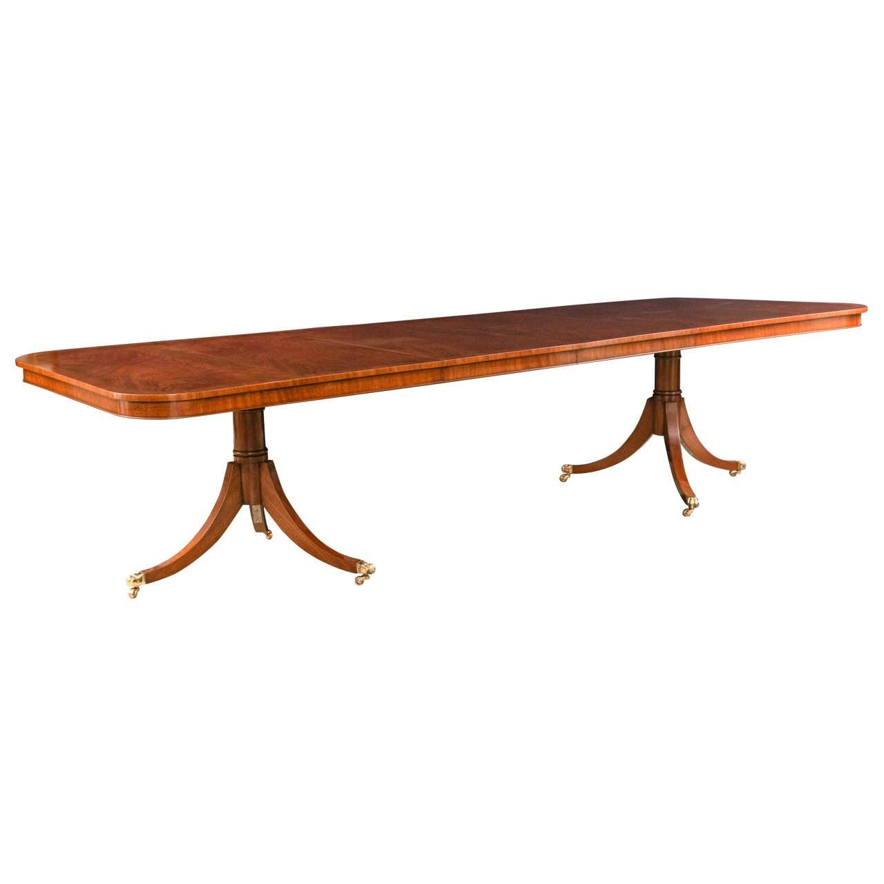 Custom English Mahogany Double Pedestal Dining Table