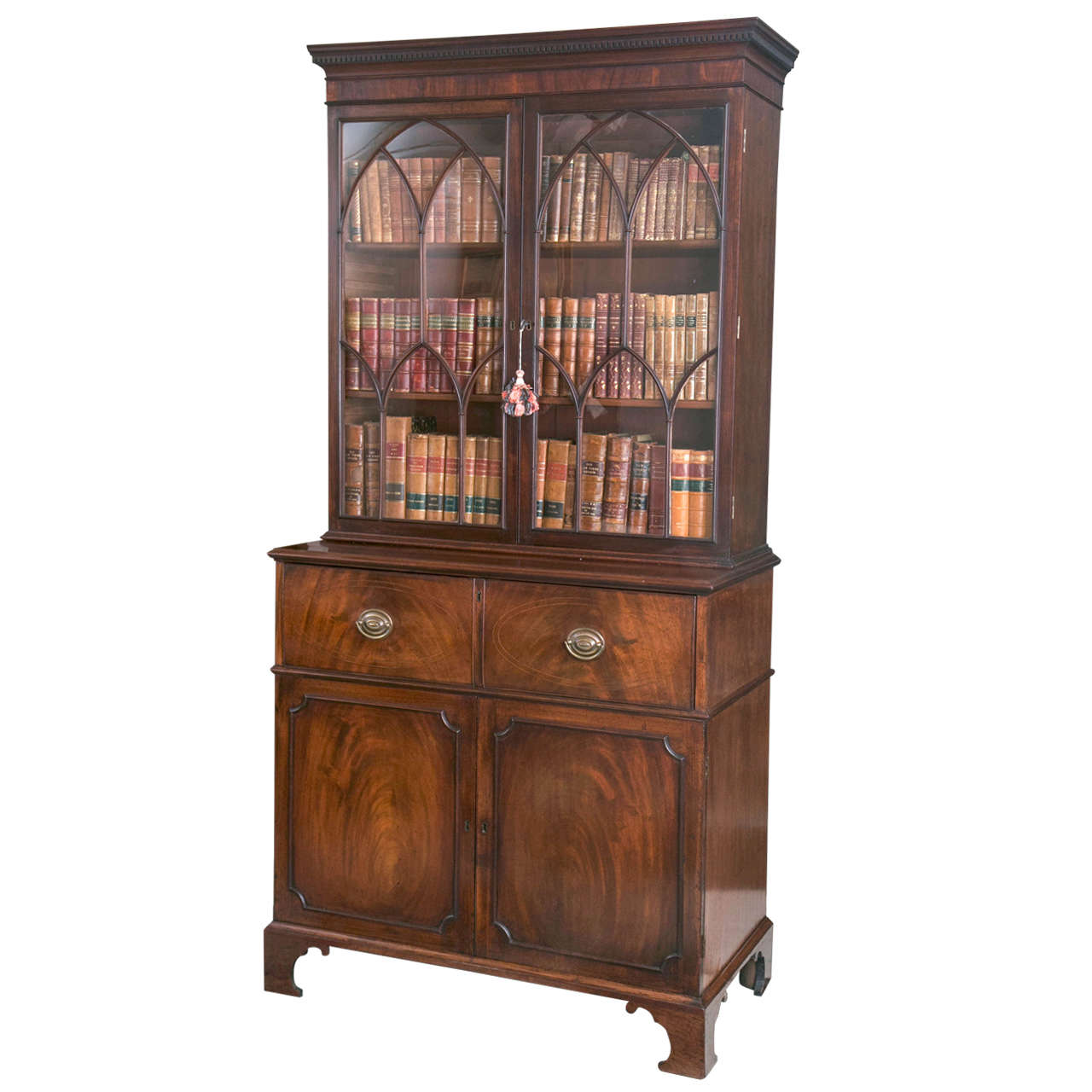English Mahogany Secretary Glazed Bookcase