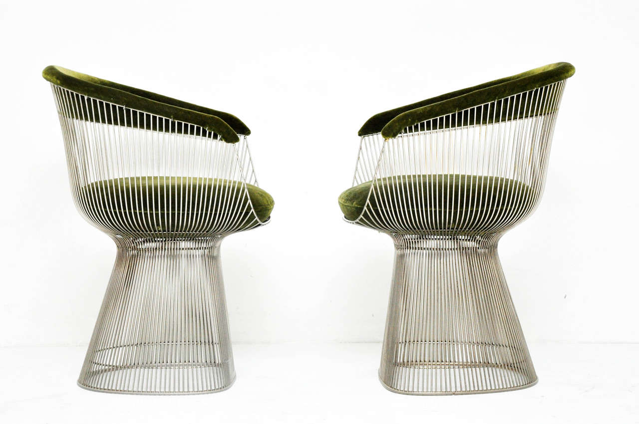 Pair of nickel frame side chairs in original green mohair.  Designed by Warren Platner for Knoll.