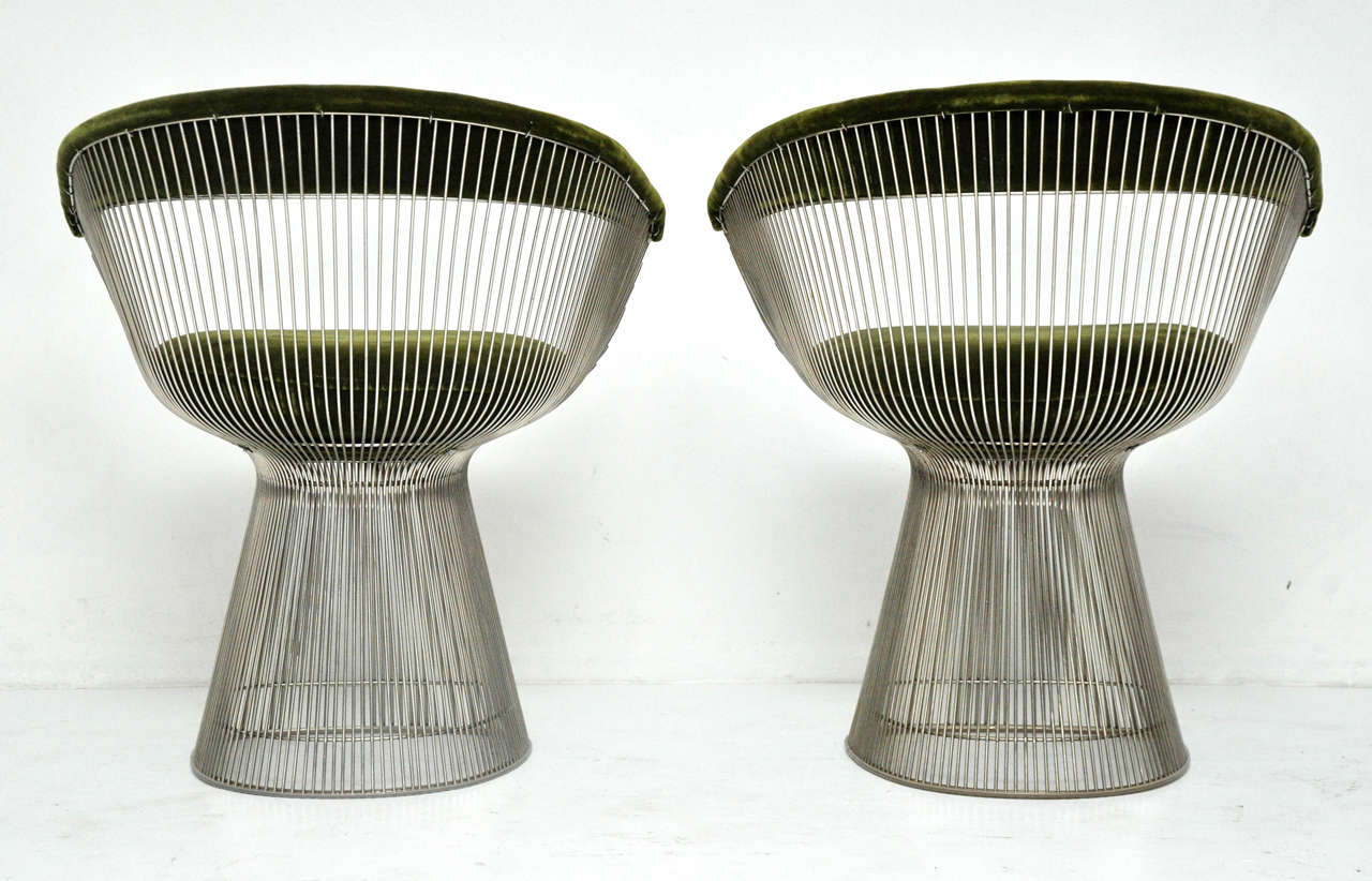 Mohair Warren Platner Pair of Side Chairs For Sale