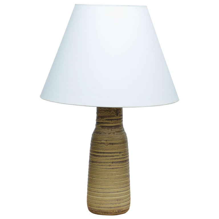 Green and Brown Ceramic Table Lamp by Design Technics For Sale