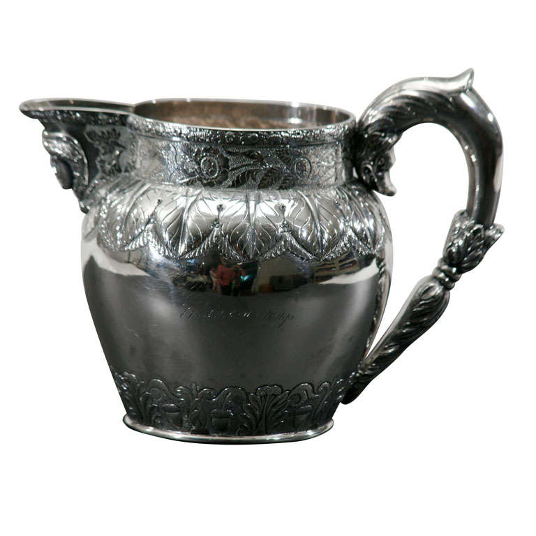 Early 19th C.  S. Kirk Sterling Silver Pitcher with Mask Spout