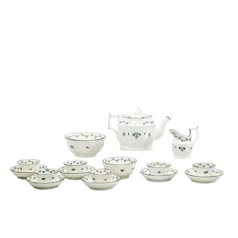 18th Century Pearlware Tea Set with Swan Finial