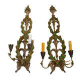 Pair Of Italian Wreath Painted And Gilded Sconces