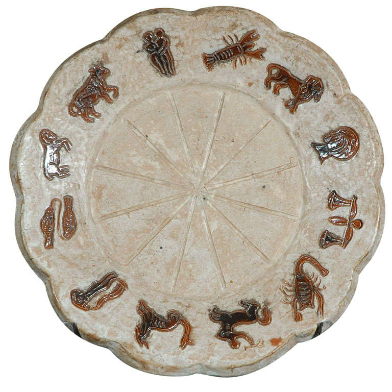 1970 39 S Ceramic Zodiac Plate Signed By Acmogres For Sale