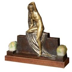 Art Deco Figural Lamp by Fanny Rozet