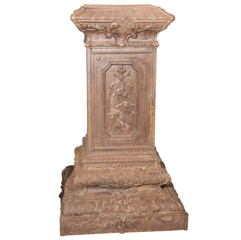 Ornate French Cast Iron Pedestal at 1stdibs