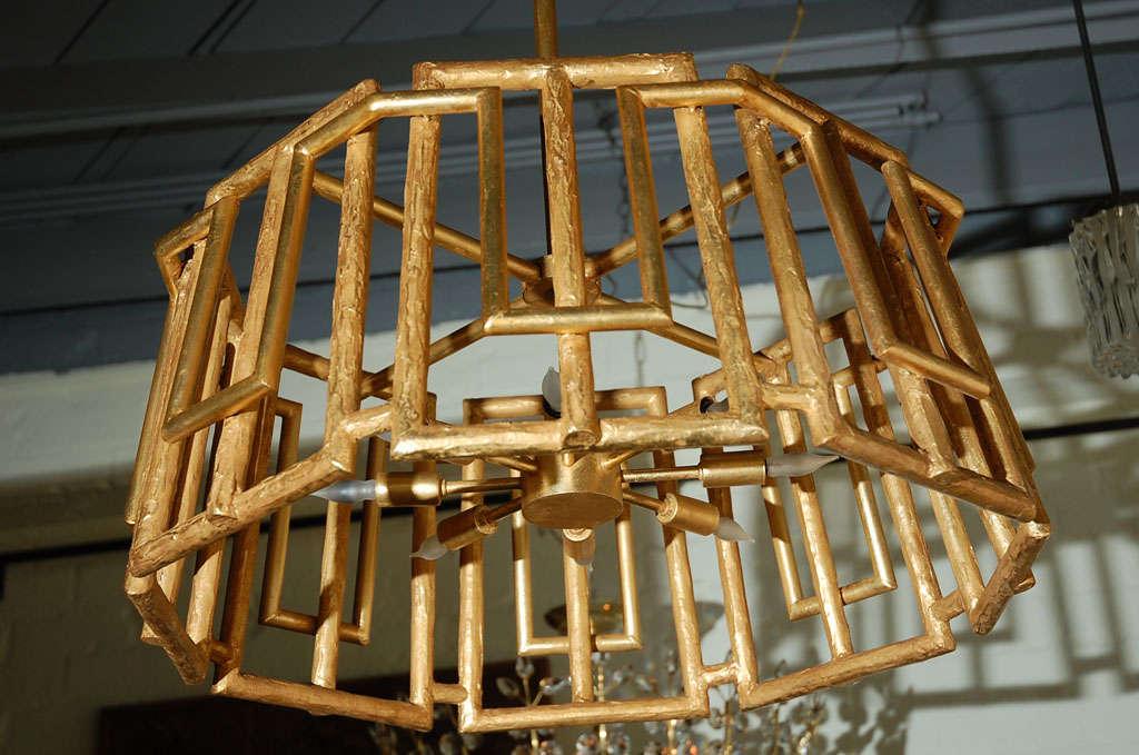 Modern Paul Marra Trellis Chandelier in Gold Leaf For Sale