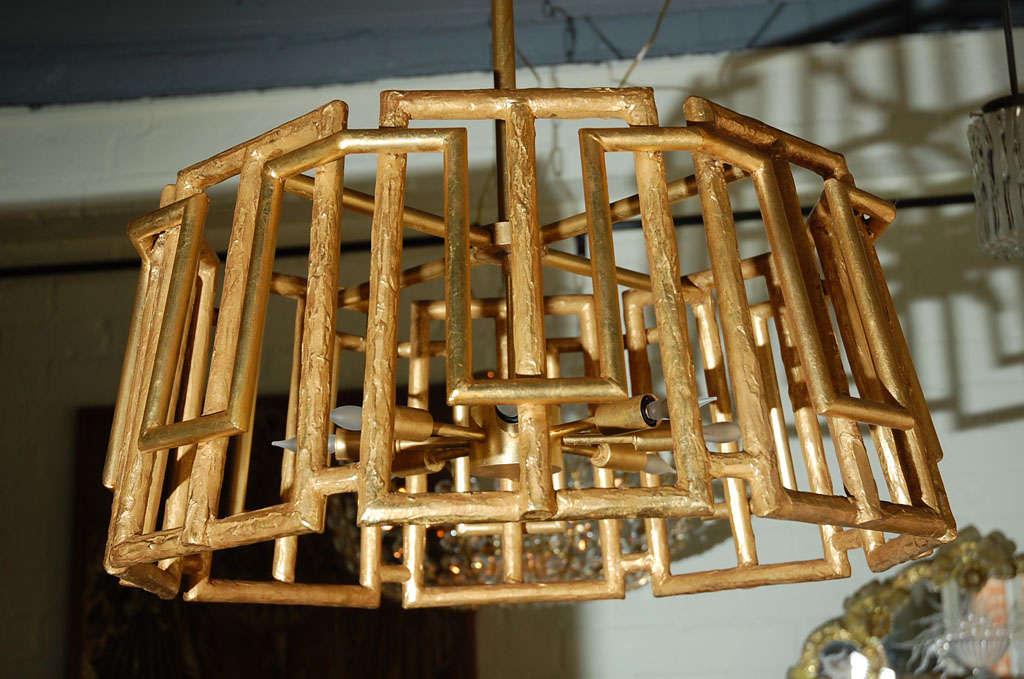 American Paul Marra Trellis Chandelier in Gold Leaf For Sale
