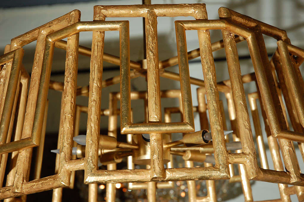 Paul Marra Trellis Chandelier in Gold Leaf In Excellent Condition For Sale In Los Angeles, CA