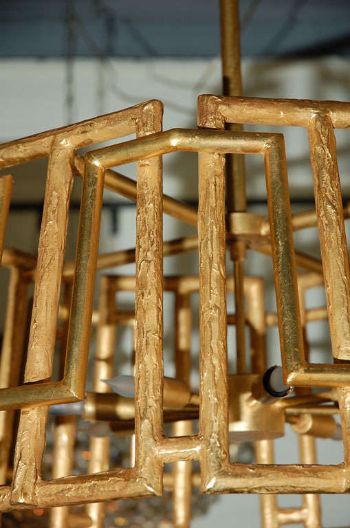 Contemporary Paul Marra Trellis Chandelier in Gold Leaf For Sale