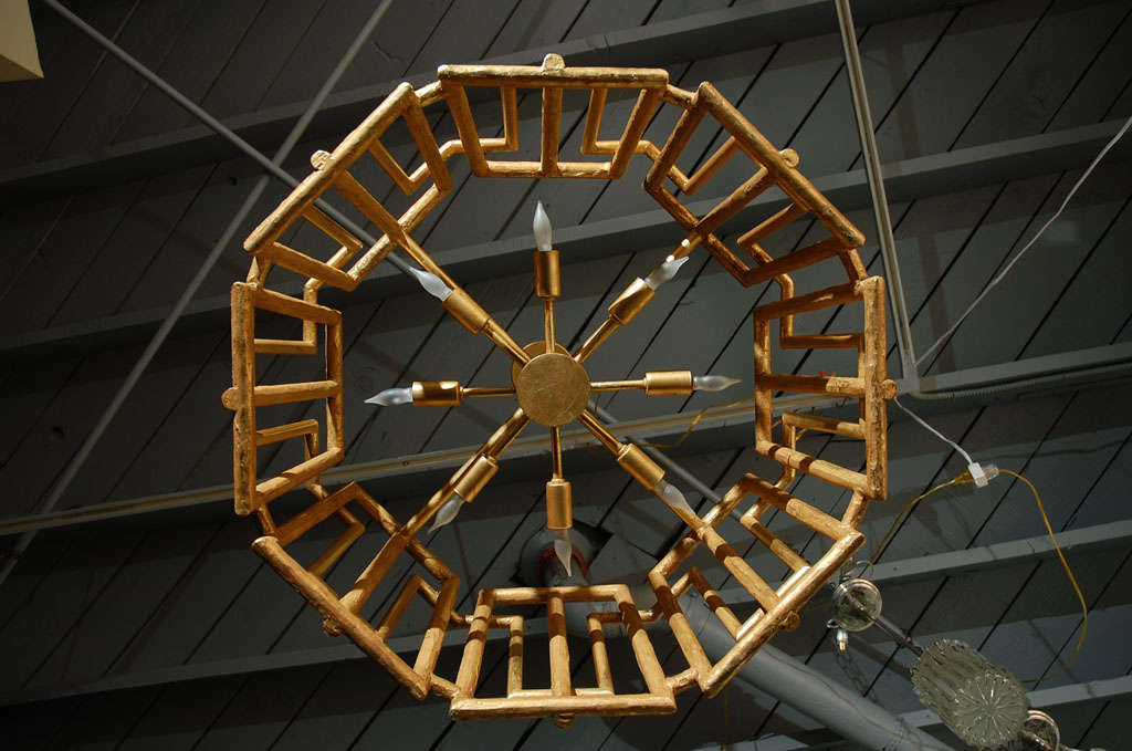 Steel Paul Marra Trellis Chandelier in Gold Leaf For Sale