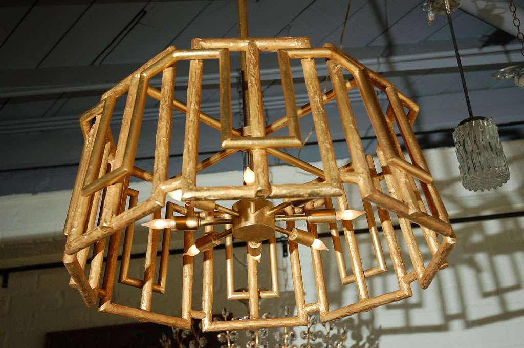 Paul Marra Trellis Chandelier in Gold Leaf For Sale 1