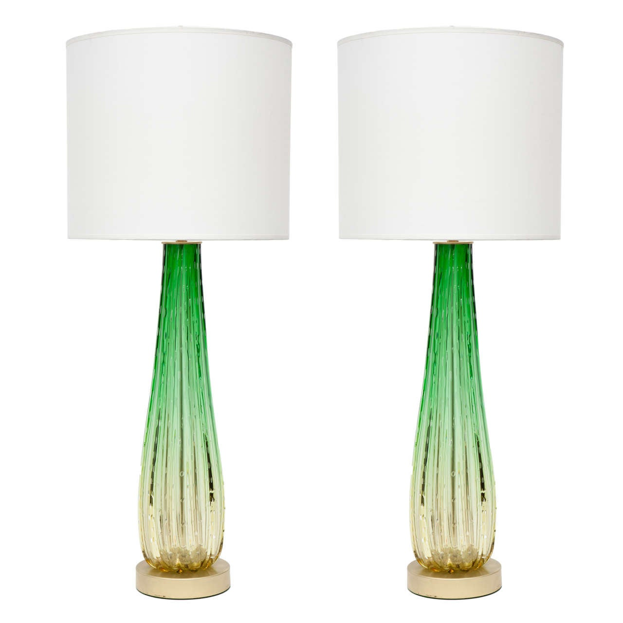 Pair of Pale Citrus and Emerald Green Murano Glass Lamps by Barovier