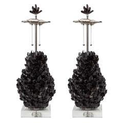 Pair of Polished Black Quartz Lamps