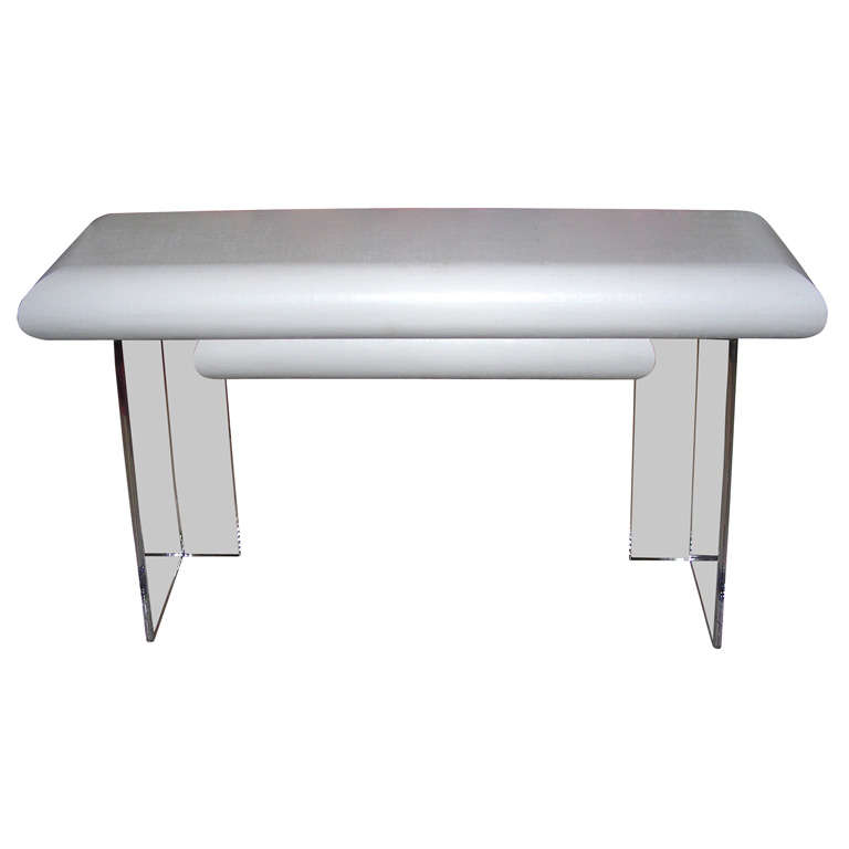 White lacquered linen wrapped console