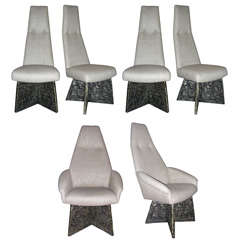 Set of six dining brutal style chairs