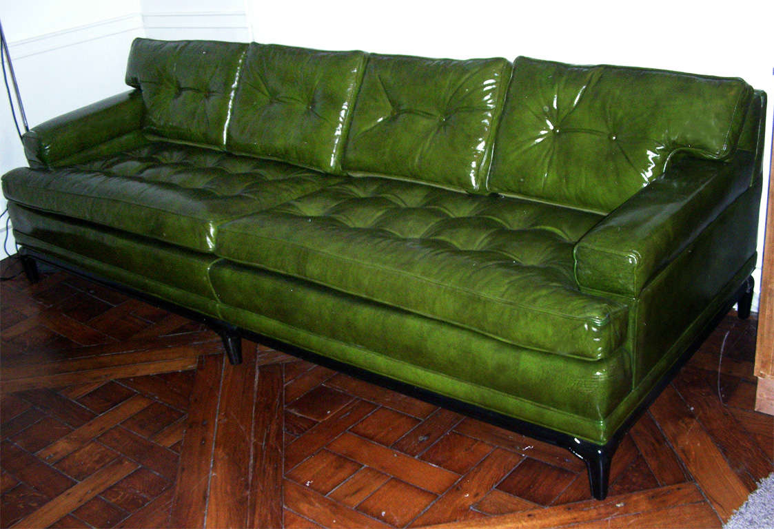 Elegant American Monteverdi Young Green Leather Sofa  For Sale