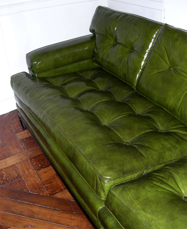 Monteverdi-Young Green Leather Sofa- 3