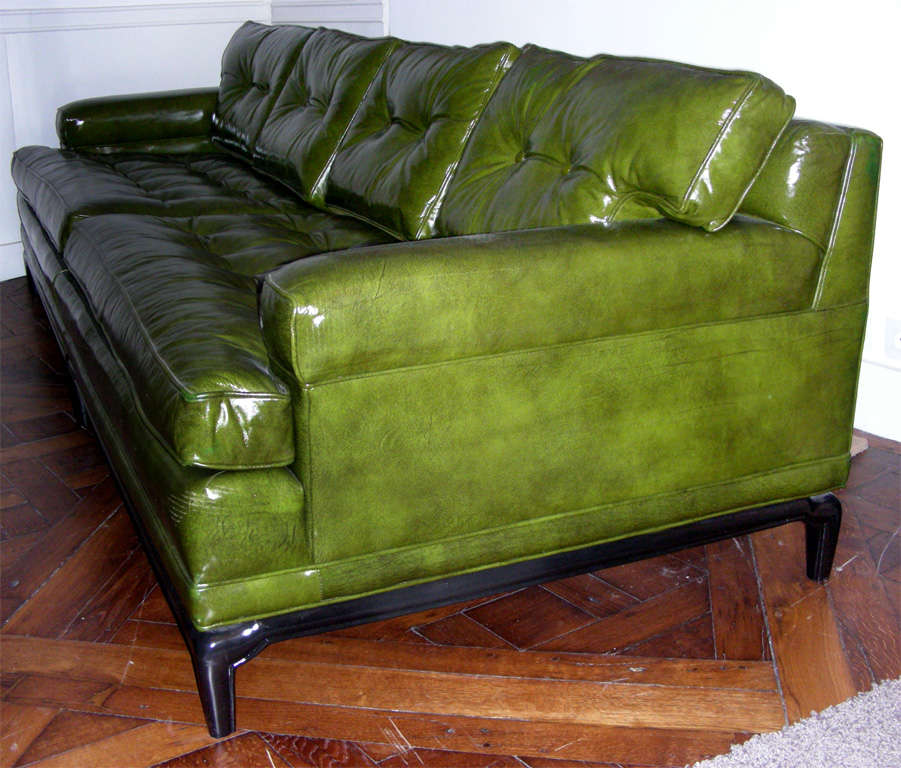 Monteverdi Young Green Leather Sofa At 1stdibs
