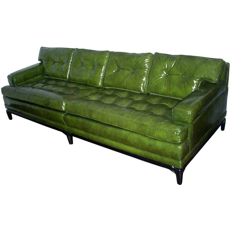 Monteverdi Young Green Leather Sofa  For Sale