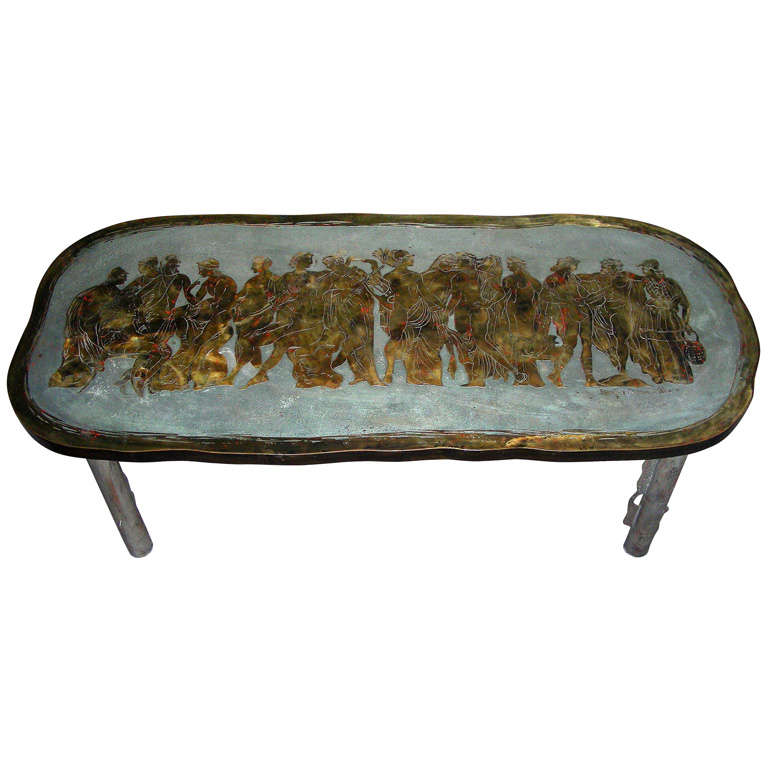"""Romanesque"" Signed Philip and Kelvin LaVerne Bronze Table"