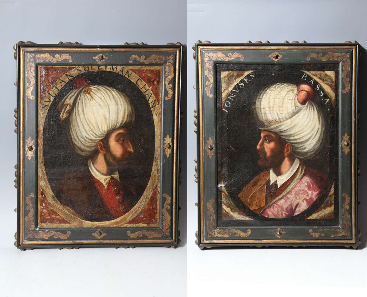 Important Pair of 17th-18th century oil on canvas portraits of Turkish Sultans,