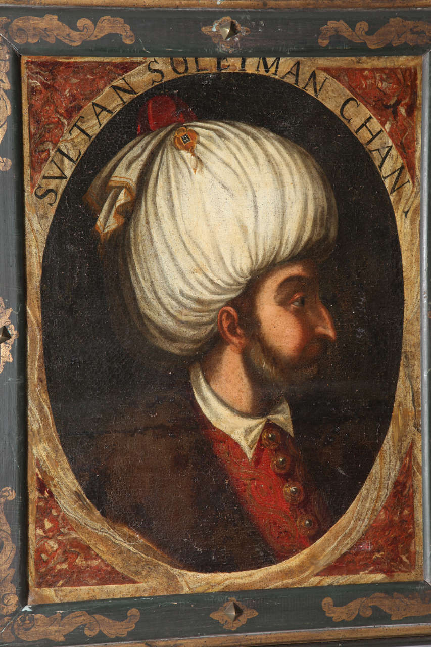 Hand-Painted Pair of Portraits of Sultan Suleiman Chan &