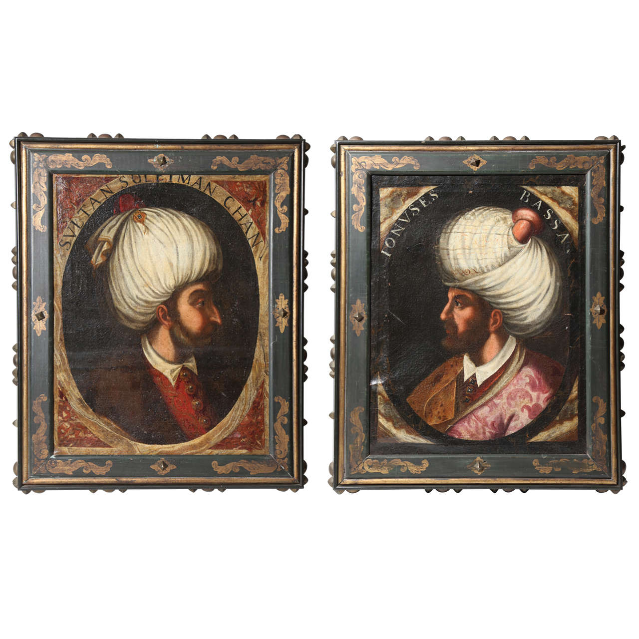 "Pair of Portraits of Sultan Suleiman Chan & ""Ionuses Bassa"" Turkish Sultans"