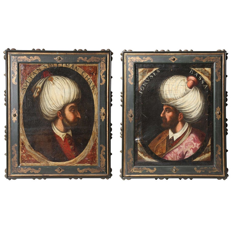 """Pair of Portraits of Sultan Suleiman Chan & """"Ionuses Bassa"""" Turkish Sultans For Sale"""