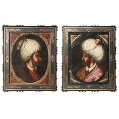 "Pair of Portraits of Sultan Suleiman Chan & ""Ionuses Bassa"" Turkish Sultans"