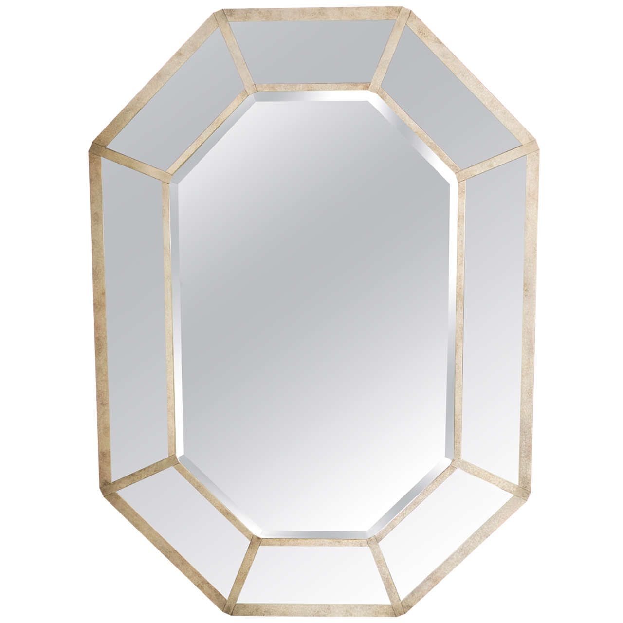 Karl springer octagonal mirror with beveled glass panels for Octagon beveled mirror