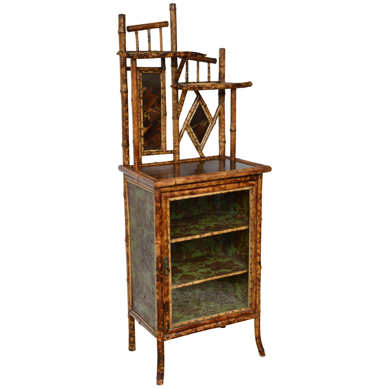 19th century english bamboo bookcase and etagere at 1stdibs. Black Bedroom Furniture Sets. Home Design Ideas