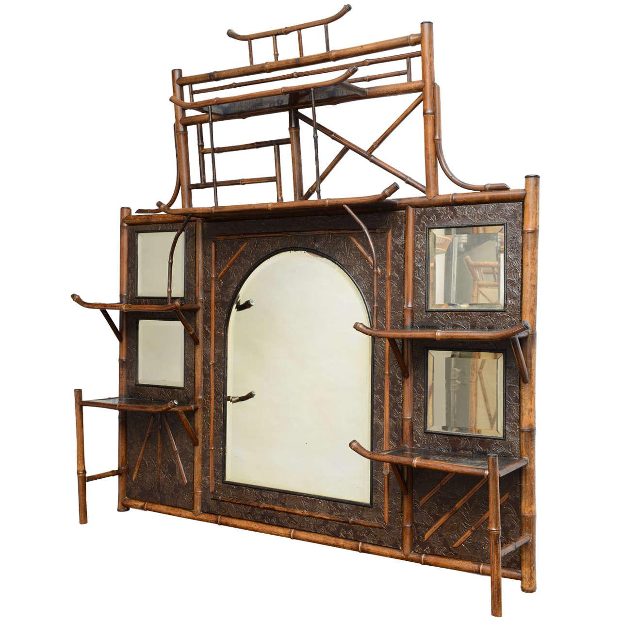 rare 19th century english bamboo mirror and shelf unit 1