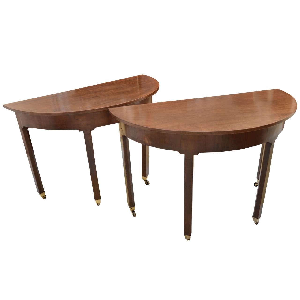 pr of georgian demi lune tables on brass castors at 1stdibs. Black Bedroom Furniture Sets. Home Design Ideas
